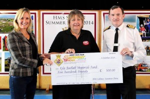 Ann Bartlett, receiving the fantastic donation from HMS Sultan